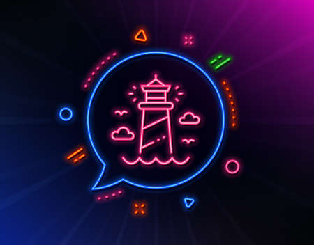 Lighthouse line icon. Neon laser lights. Beacon tower sign. Searchlight building symbol. Glow laser speech bubble. Neon lights chat bubble. Banner badge with lighthouse icon. Vector