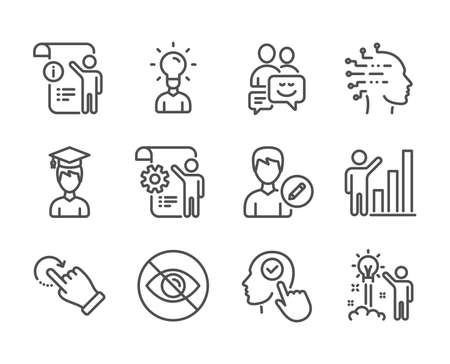 Set of People icons, such as Student, Artificial intelligence, Graph chart, Settings blueprint, Select user, Creative idea, Rotation gesture, Education, Edit person, Communication. Vector