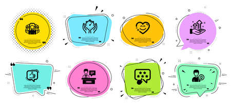 Like, Person idea and Women group line icons set. Chat bubbles with quotes. Smile chat, Timer and Exhibitors signs. Analysis graph, Ranking star symbols. Thumbs up, Lamp energy. People set. Vector