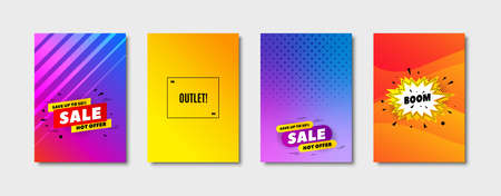 Outlet symbol. Cover design, banner badge. Special offer price sign. Advertising discounts. Poster template. Sale, hot offer discount. Flyer or cover background. Coupon, banner design. Vector Illusztráció
