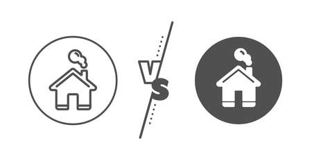 House sign. Versus concept. Home line icon. Building or Homepage symbol. Line vs classic home icon. Vector