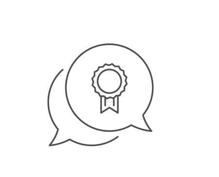 Award Medal line icon. Chat bubble design. Winner achievement symbol. Glory or Honor sign. Outline concept. Thin line reward icon. Vector Ilustração