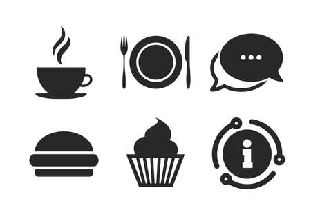 Muffin cupcake symbol. Chat, info sign. Food and drink icons. Plate dish with fork and knife sign. Hot coffee cup and hamburger. Classic style speech bubble icon. Vector