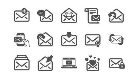 Mail message icons. Newsletter, E-mail, Correspondence. Communication classic icon set. Quality set. Vector