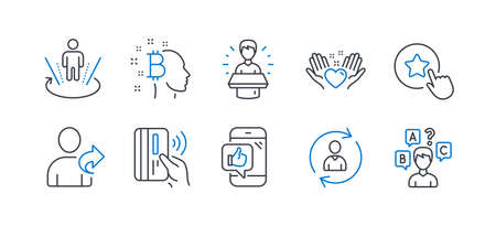 Set of People icons, such as Hold heart, Brand ambassador, Refer friend, Mobile like, Bitcoin think, Augmented reality, Contactless payment, Person info, Loyalty star, Quiz test. Vector