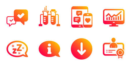 Approve, Chemistry beaker and Social media line icons set. Sleep, Statistics and Information signs. Scroll down, Certificate symbols. Accepted message, Laboratory flask. Technology set. Vector