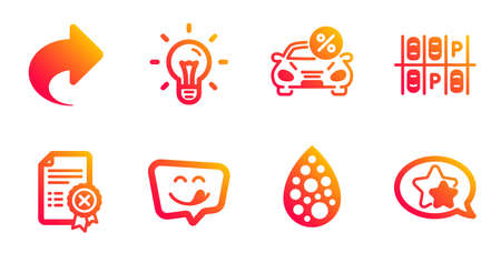 Reject certificate, Yummy smile and Parking place line icons set. Artificial colors, Share and Idea signs. Car leasing, Star symbols. Decline file, Emoticon. Technology set. Vector Ilustração