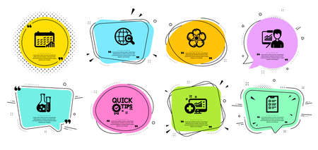 Checklist, Calendar graph and Natural linen line icons set. Chat bubbles with quotes. International �¡opyright, Chemistry lab and Presentation signs. Medical analytics, Quick tips symbols. Vector
