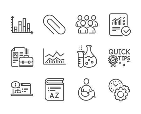 Ensemble d'icônes d'éducation, telles que la documentation en ligne, trombone, vocabulaire, infochart commercial, flacon de chimie, gestion du temps, groupe, poste vacant, conseils rapides, calcul vérifié, partage. Vecteur
