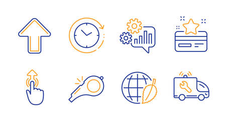 Cogwheel, Loyalty card and Environment day line icons set. Whistle, Upload and Swipe up signs. Time change, Car service symbols. Engineering tool, Bonus points. Business set. Vector