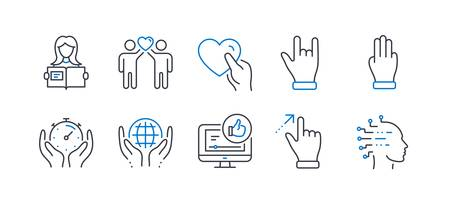 Set of People icons, such as Friends couple, Like video, Woman read, Organic tested, Touchscreen gesture, Horns hand, Three fingers, Timer, Hold heart, Artificial intelligence line icons. Vector
