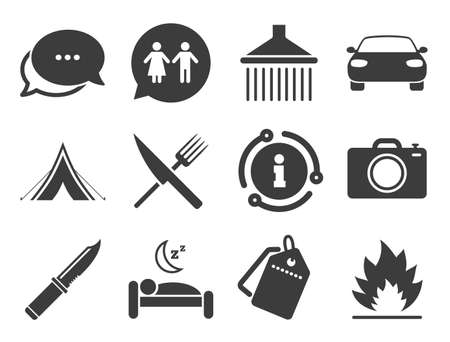 Camping, shower and wc toilet signs. Discount offer tag, chat, info icon. Hiking trip icons. Tourist tent, fork and knife symbols. Classic style signs set. Vector Ilustração