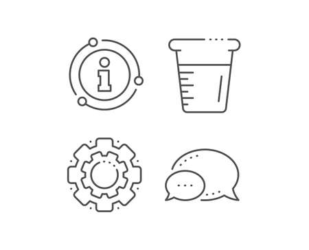Cooking beaker line icon. Chat bubble, info sign elements. Glass water sign. Measuring cup symbol. Linear cooking beaker outline icon. Information bubble. Vector Stock Illustratie