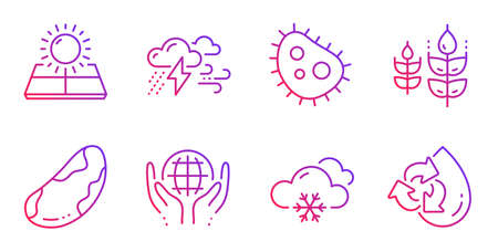 Organic tested, Gluten free and Bad weather line icons set. Snow weather, Bacteria and Brazil nut signs. Sun energy, Recycle water symbols. Safe nature, Bio ingredients. Nature set. Vector