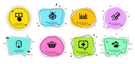 Payment click, Credit card and Bar diagram line icons set. Chat bubbles with quotes. Drop counter, People and Shopping basket signs. Loyalty program, Medical chat symbols. Vector