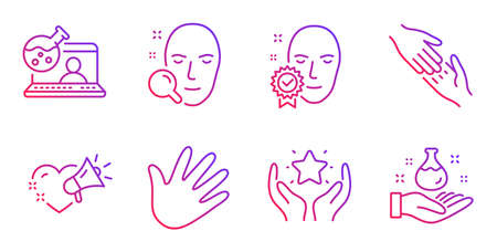 Helping hand, Face verified and Face search line icons set. Hand, Ranking and Love message signs. Online chemistry, Chemistry lab symbols. Give gesture, Access granted. People set. Vector