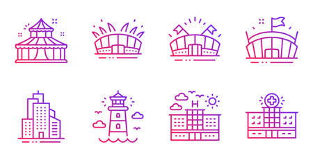 Hotel, Circus and Sports arena line icons set. Arena stadium, Lighthouse and Skyscraper buildings signs. Hospital building symbol. Travel, Attraction park. Buildings set. Gradient hotel icon. Vector