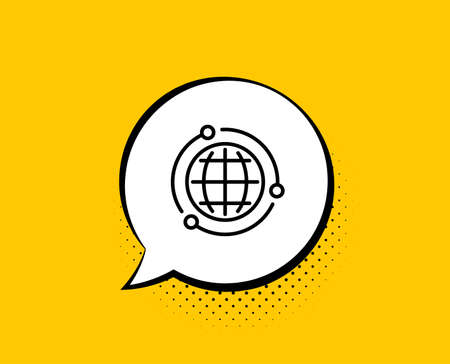 Globe line icon. Comic speech bubble. World or Earth sign. Global Internet symbol. Yellow background with chat bubble. Globe icon. Colorful banner. Vector