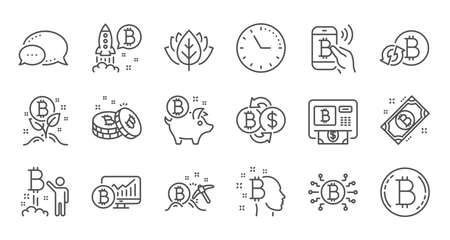 Bitcoin line icons. Blockchain, Crypto ICO and Cryptocurrency. Mining linear icon set. Quality line set. Vector