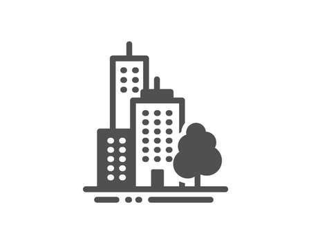 City architecture with tree sign. Skyscraper buildings icon. Town symbol. Classic flat style. Simple skyscraper buildings icon. Vector Standard-Bild - 131504195