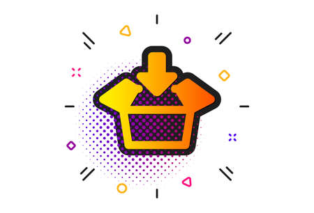 Open delivery parcel sign. Halftone circles pattern. Get box icon. Cargo package symbol. Classic flat get box icon. Vector