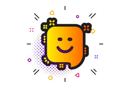 Positive feedback rating sign. Halftone circles pattern. Smile icon. Customer satisfaction symbol. Classic flat smile icon. Vector Çizim