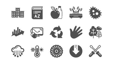 Company building, Fan engine and Profits chart icons. Jet turbine, Wind energy and Cloud services. Classic icon set. Quality set. Vector