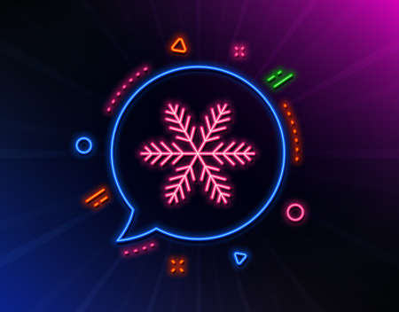 Snowflake line icon. Neon laser lights. Christmas snow sign. Winter or cold symbol. Glow laser speech bubble. Neon lights chat bubble. Banner badge with snowflake icon. Vector