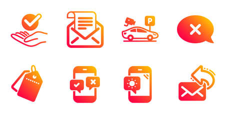 Approved, Weather phone and Parking security line icons set. Reject, Sale tags and Phone survey signs. Mail newsletter, Share mail symbols. Verified symbol, Travel device. Technology set. Vector Ilustração