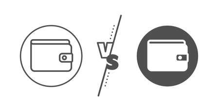 Cash symbol. Versus concept. Money Wallet line icon. Payment method sign. Line vs classic money Wallet icon. Vector