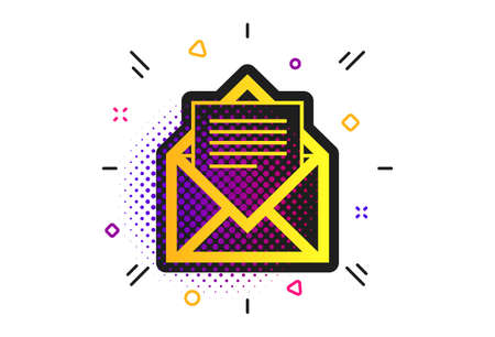 Mail icon. Halftone dots pattern. Envelope symbol. Message sign. Mail navigation button. Classic flat message icon. Vector