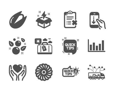 Set of Business icons, such as Scroll down, Hold heart, Truck delivery, Column chart, Reject checklist, Travel luggage, Fan engine, Education idea, Pistachio nut, Quick tips, Creative idea. Vector Illustration