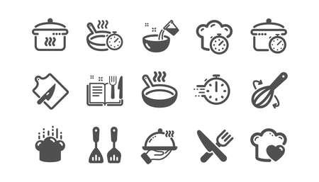 Koken pictogrammen. Kooktijd, Koekenpan en Keukengerei. Vork, lepel en mes pictogrammen. Receptenboek, koksmuts en snijplank. Klassiek setje. Kwaliteitsset. Vector