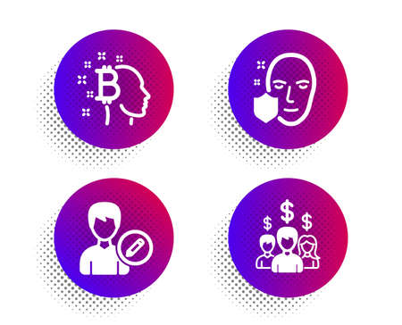 Face protection, Edit person and Bitcoin think icons simple set. Halftone dots button. Salary employees sign. Secure access, Change user info, Cryptocurrency head. People earnings. People set. Vector