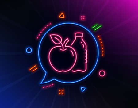Apple line icon. Neon laser lights. Fruit, water bottle sign. Natural food symbol. Glow laser speech bubble. Neon lights chat bubble. Banner badge with apple icon. Vector