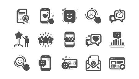 Feedback icons. User Opinion, Customer service and Star Rating. Customer satisfaction classic icon set. Quality set. Vector Illustration