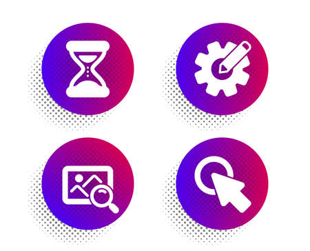 Cogwheel, Search photo and Time icons simple set. Halftone dots button. Click here sign. Edit settings, Find image, Clock. Push button. Technology set. Classic flat cogwheel icon. Vector