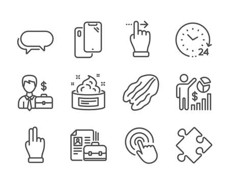 Set of Business icons, such as Vacancy, Strategy, Seo statistics, Businessman case, Click hand, 24 hours, Messenger, Touchscreen gesture, Pecan nut, Skin cream, Click, Smartphone. Vacancy icon. Vector 일러스트