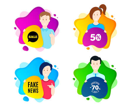 Fake news symbol. People shape offer badge. Media newspaper sign. Daily information. Dynamic shape offer. Worker person badge. Cut out people coupon. Fake news text. Vector Çizim
