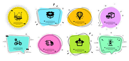 Get box, Truck delivery and Bicycle parking line icons set. Chat bubbles with quotes. Packing boxes, Lighthouse and Bumper cars signs. Open box, Air balloon symbols. Vector