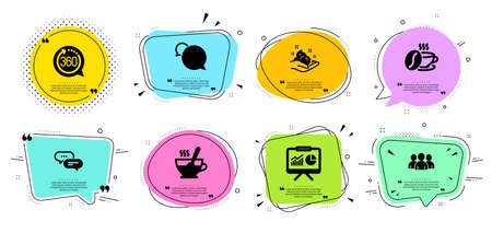 Dots message, Skin care and Presentation line icons set. Chat bubbles with quotes. Messenger, Coffee cup and Tea cup signs. Group, 360 degrees symbols. Chat bubble, Hand cream. Business set. Vector