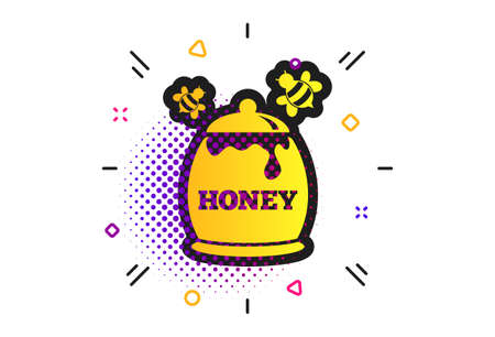 Honey in pot with flying bees sign icon. Halftone dots pattern. Sweet natural food symbol. Classic flat honey icon. Vector Фото со стока - 131504290