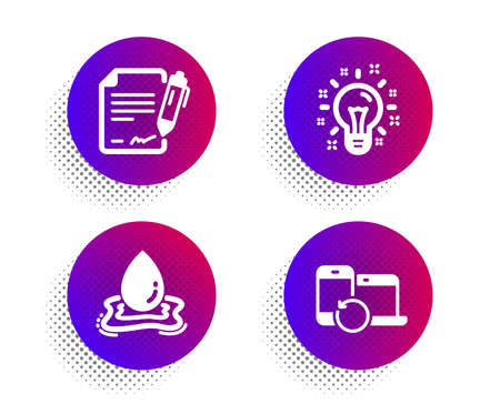 Water splash, Idea and Signing document icons simple set. Halftone dots button. Recovery devices sign. Aqua drop, Creativity, Contract. Backup data. Science set. Classic flat water splash icon. Vector