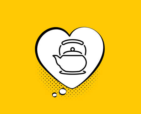 Teapot line icon. Comic speech bubble. Hot drink sign. Fresh beverage in kettle symbol. Yellow background with chat bubble. Teapot icon. Colorful banner. Vector Иллюстрация