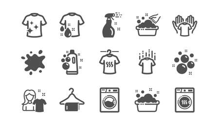 Laundry icons. Dryer, Washing machine and dirt shirt. Laundromat, hand washing, laundry service icons. Classic set. Quality set. Vector  イラスト・ベクター素材