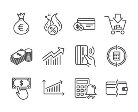 Set of Finance icons, such as Payment method, Shopping, Money bag, Contactless payment, Hot loan, Chart, Savings, Calculator target, Calculator alarm, Demand curve line icons. Vector Иллюстрация