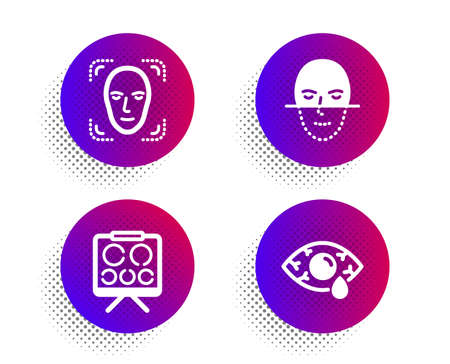 Face recognition, Vision board and Face detection icons simple set. Halftone dots button. Ð¡onjunctivitis eye sign. Faces biometrics, Eye check, Detect person. Optometry clinic. Medical set. Vector Çizim