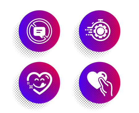 Yummy smile, Seo timer and Stop talking icons simple set. Halftone dots button. Hold heart sign. Comic heart, Cogwheel, Do not talk. Friendship. Business set. Classic flat yummy smile icon. Vector Çizim
