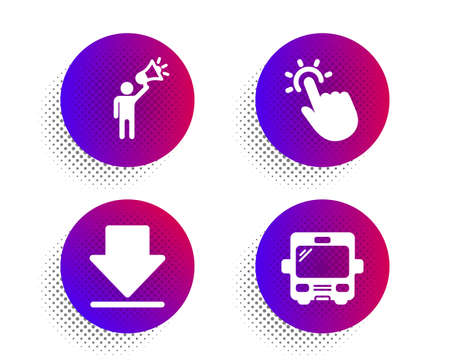 Downloading, Touchpoint and Brand ambassador icons simple set. Halftone dots button. Bus sign. Load information, Touch technology, Megaphone. Tourism transport. Business set. Vector