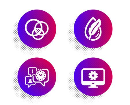 Euler diagram, Hypoallergenic tested and Time management icons simple set. Halftone dots button. Monitor settings sign. Relationships chart, Feather, Office chat. Service cogwheel. Vector